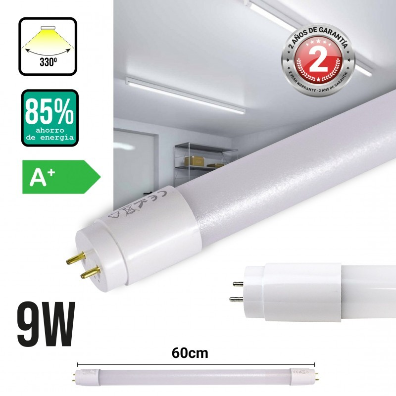 Tube LED T8 9W 60cm plastique