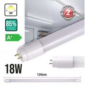 Tube LED T8 18W 120cm plastique