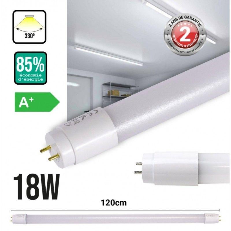 Tube LED T8 18W 120cm plastique