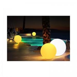 Boule lumineuse LED RGBW 30cm en résine blanche 5W IP65 sans fil