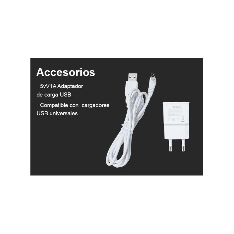 Kit Luces de suelo 6 balizas Ø35x24mm Monocolor 0,4Wx6, 12V-DC IP67 BC + Cables conexión + Fuente alimentación 0,65A