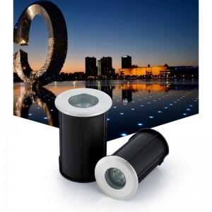 Spot LED encastrable au sol 1,5W 12V-DC IP67 3000K