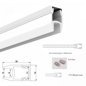 Profilé aluminium pour verre et étagère 25x14mm