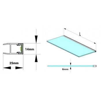 KIT Profilé en aluminium de surface 17X15mm avec diffuseur opale + embouts + 4 clips de fixation (barre de 2m)