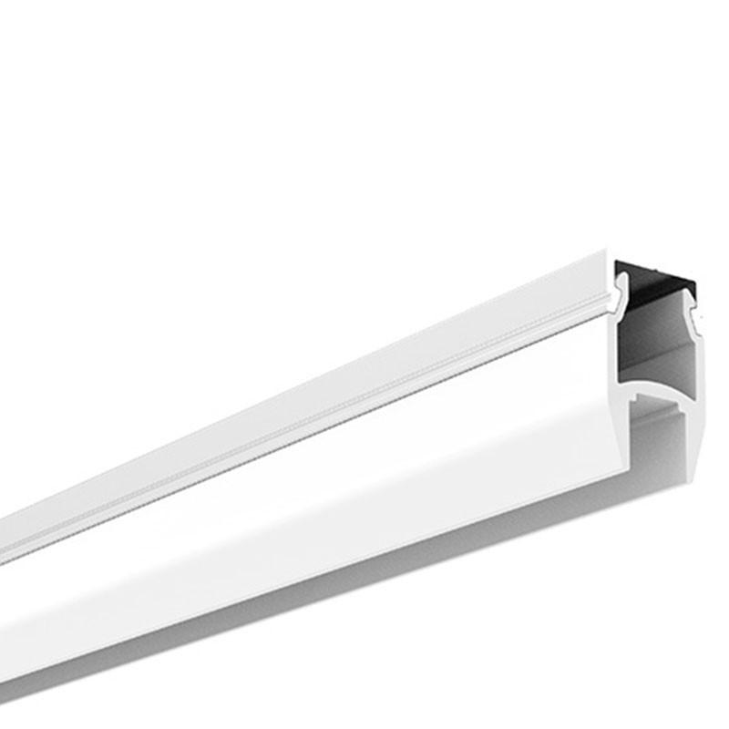 KIT Perfil de aluminio de superficie 17X8mm con difusor glaseado + tapones + 4 grapas