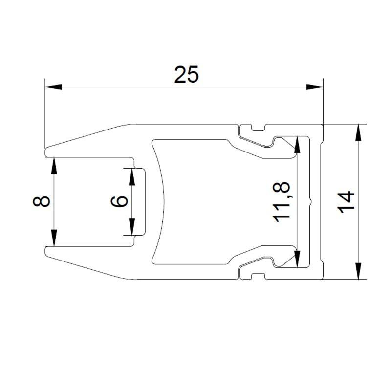KIT Perfil de aluminio de superficie 17X8mm con difusor opal + tapones + 4 grapas