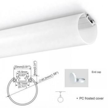 KIT Profilé en aluminium de surface 19X19mm 45º avec diffuseur dépoli + embouts + 4 clips de fixation (Barre 2m)