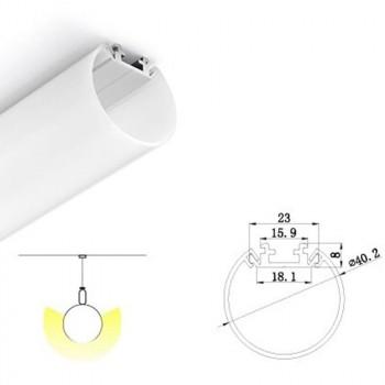 KIT Profilé en aluminium pour encastrer 23X8mm avec diffuseur opale + embouts (barre de 2m)