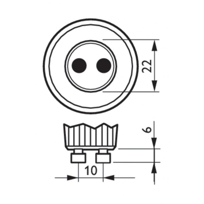 Mecanismo pulsador dos teclas regulador monocolor, señal radiofrecuencia, 2 zonas de control