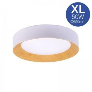 Plafonnier LED 50W blanc et bois