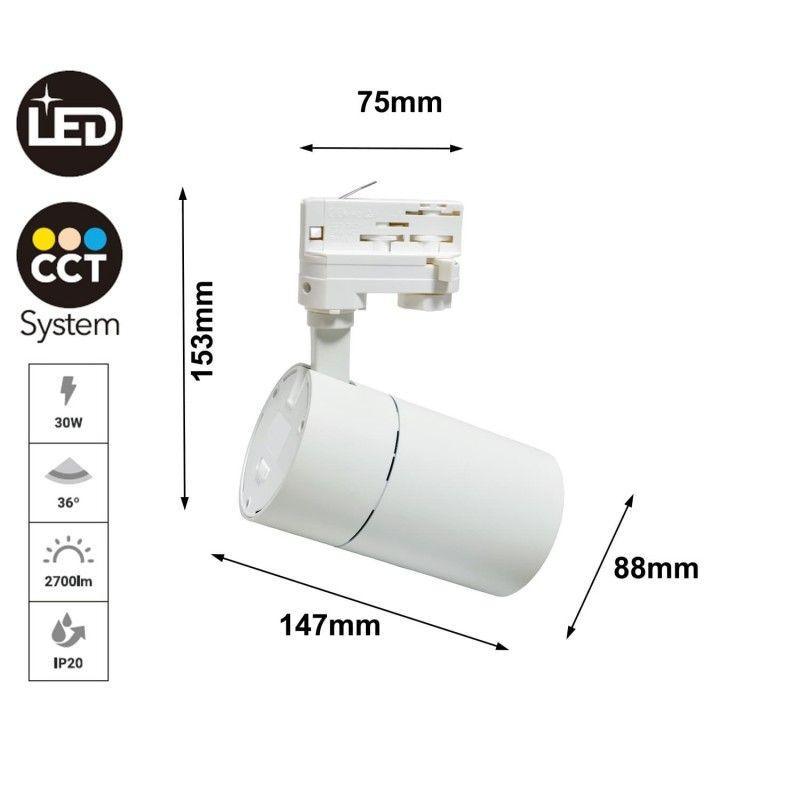 Spots LED pour rail monophasé 30W 2700lm CCT
