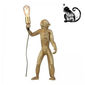 lampe sur pied singe doré