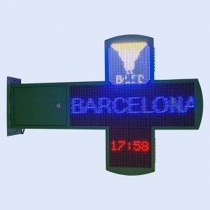 Croix de pharmacie LED RGB programmable 878 x 878 mm