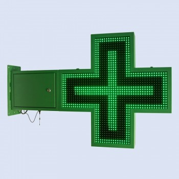 Croix de pharmacie LED verte programmable  830 x 830 mm