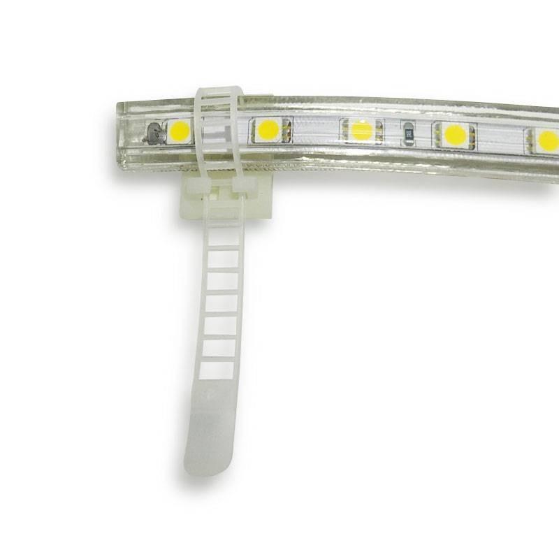 Bride plastique pour rubans et tuyaux LED avec base adhésive 3M
