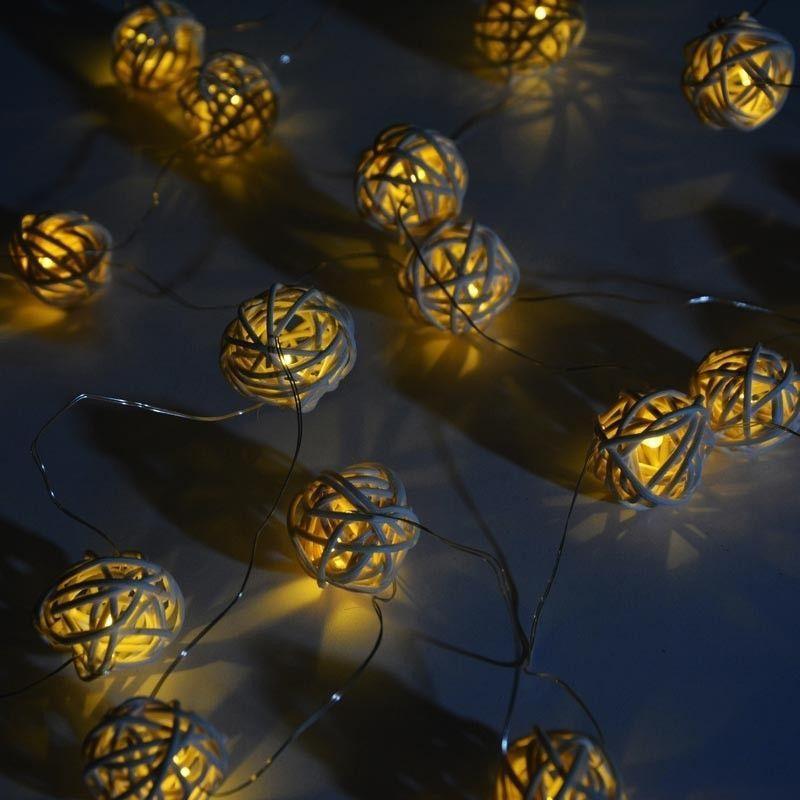 Guirlande lumineuse LED extérieur / intérieur en osier