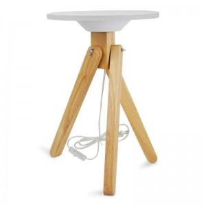 Table lumineuse LED en bois avec plateau en méthacrylate