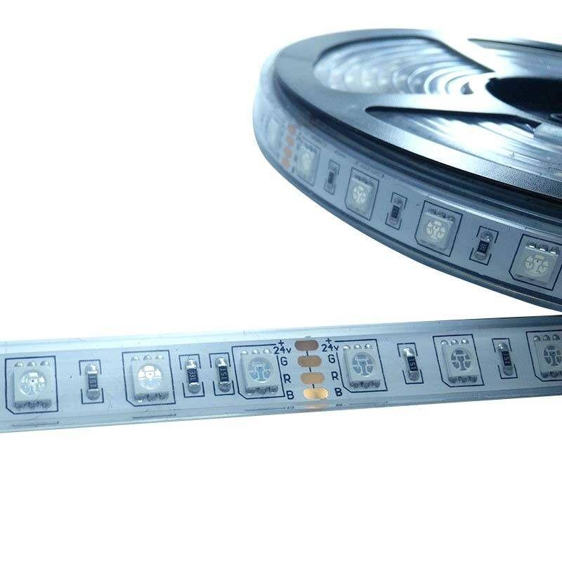 Ruban LED 5M, 24V-DC 72W RGB Plastifié IP67