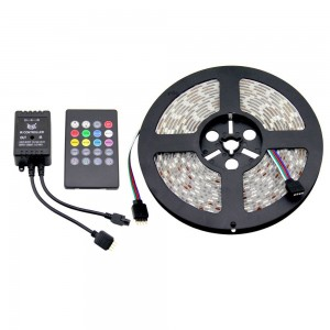 KIT RUBAN LED RGB MUSICAL 5M , SOURCE D'ALIMENTATION 12V, CONTRÔLEUR MUSICAL 24 TOUCHES