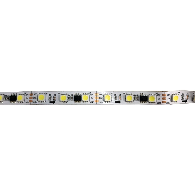 RUBAN LED IC DIGITAL 12V DC 72W 10MM 5 MÈTRES BLANC FROID 6000K IP20 (SMD5050 60CH/M)