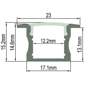 Profilé aluminium 23x15 mm pour encastrer (2 m)