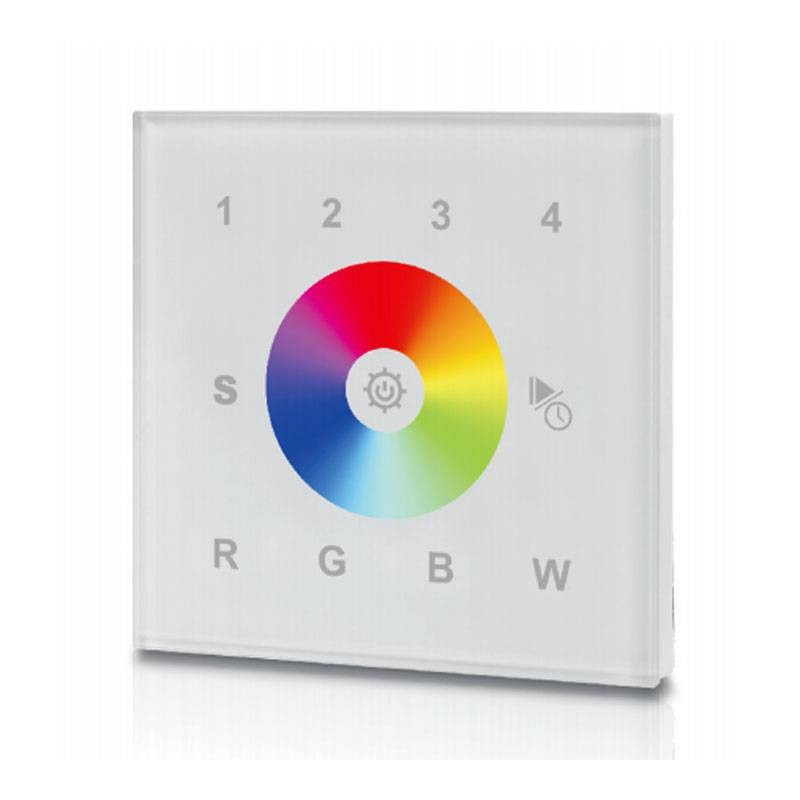 Contrôleur tactile encastrable RGBW, 12 24V-DC, transmission RF, 4 zones