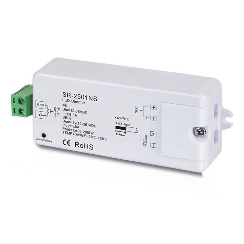 Régulateur unicolore PWM 12-36V-DC, 1 canal 8A, Contrôle RF, 1 zone de contrôle