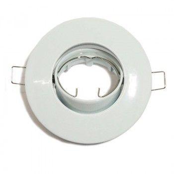 Support spot encastrable rond basculant pour dichroïque LED, Ø80/102mm. Couleur Blanc