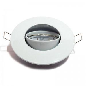 Support spot encastrable rond basculant GU10, Ø80/102mm. Couleur Blanc