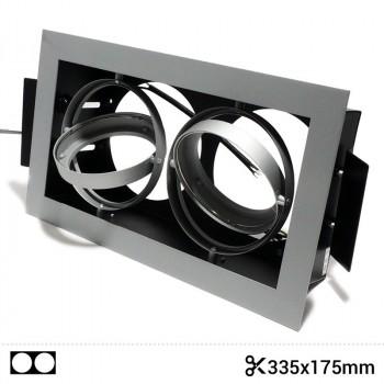 Cardan en acier pour deux ampoules QR111 LED