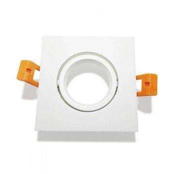 Support spot LED encastrable carré orientable blanc