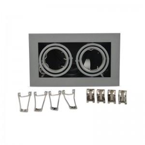 Cardan en acier pour 2 ampoules dichroïques Ø50mm