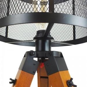 Lampe de table en métal sur trépied en bois