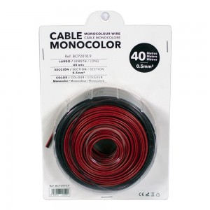 Cable 2x0,5mm para tira LED monocolor 12/24V - Rollo de 40 metros