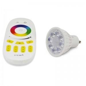 Ampoule LED RGBW+CTT GU10 4W contrôle par RF ou wifi
