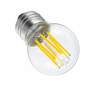 Ampoule sphérique LED G45 6W filament E27 transparent