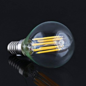AMPOULE SPHÉRIQUE LED G45 6W FILAMENT E14 TRANSPARENT