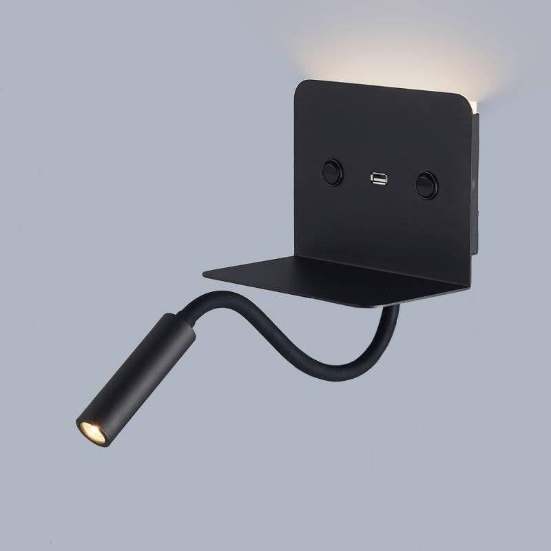 """APLIQUE DE LECTURA LED """"SLANGE"""" FLEXO ORIENTABLE 3W CON BASE DE CARGA USB"""