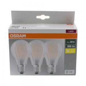 Pack éco de 3 ampoules LED Osram E27 7W verre glacé