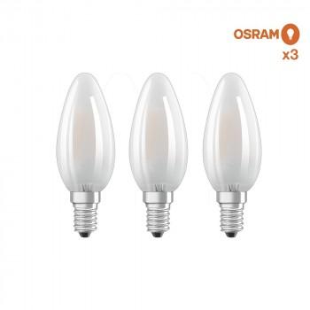 Pack éco de 3 ampoules LED Osram E14 4W verre glacé