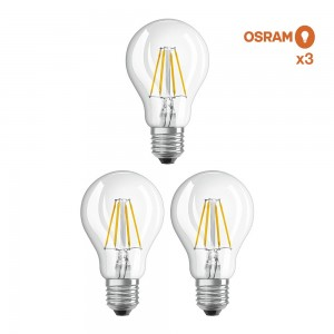 Pack éco 3 ampoules LED Osram E27 6,5W verre transparent