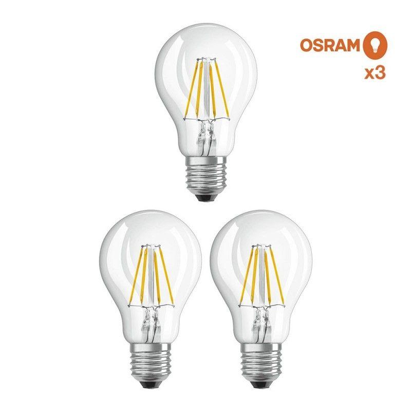 Pack éco 3 ampoules LED Osram E27 6,5W verre transparent