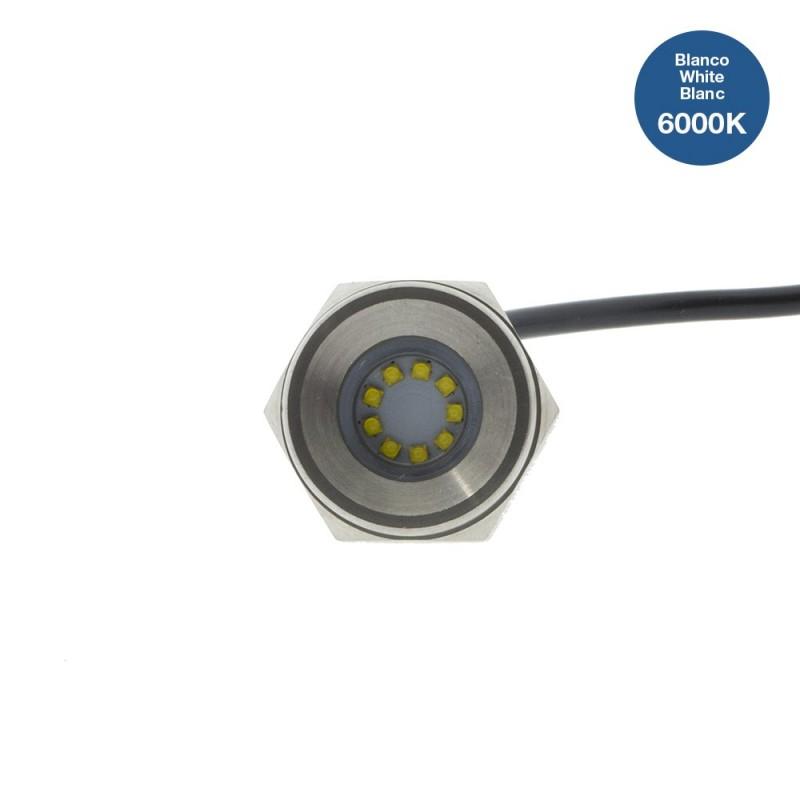 Luz LED empotrable para tapón de drenaje en barcos 27W 9-32V inox 316L