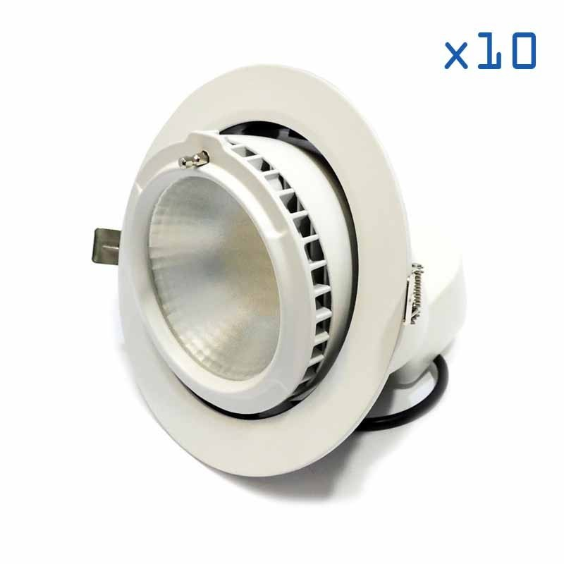 Pack 10 downlights ronds 38W orientable