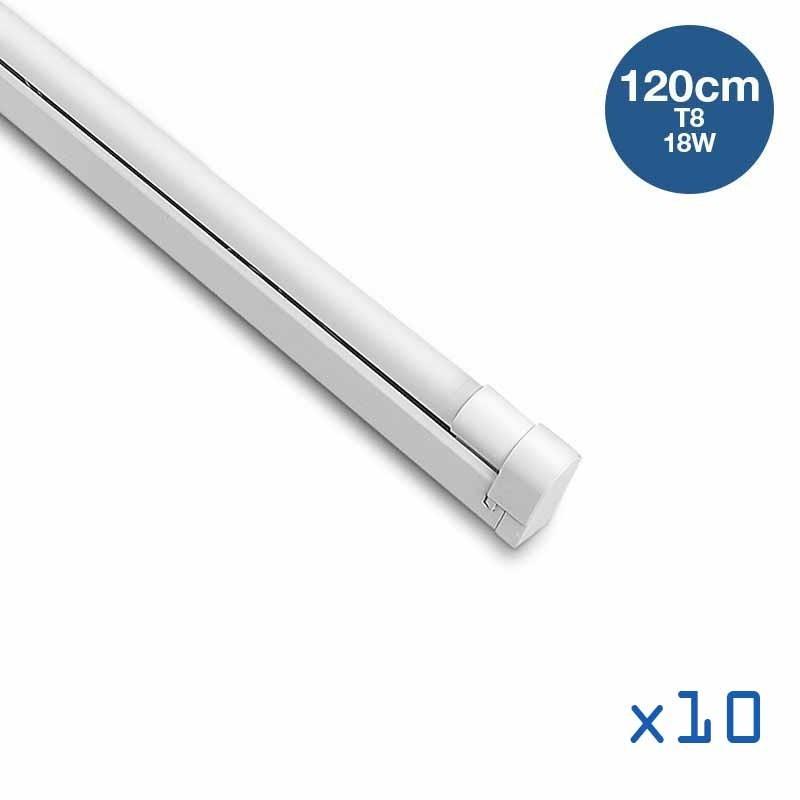 Pack 10 kits tube T8 18W 120cm + réglette