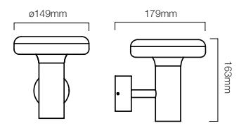 Dimensions applique LED 5w