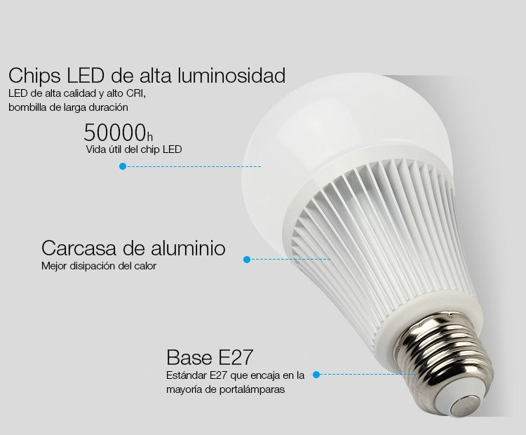 description ampoule LED e27 milight Rgb+cct