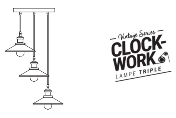 CLOCK WORK LAMPE TRIPLE