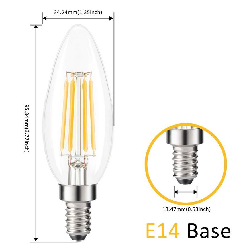 dimensions ampoule E14 filament clear