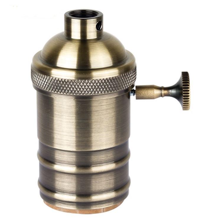 douille E27 bronze + interrupteur